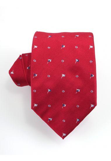 Cravatta 3 pieghe FLAG  in seta-Rosso