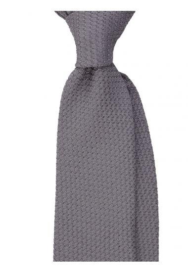 Cravatta 3 pieghe RUBINO - Garza di seta -Grigio con impuntura a mano