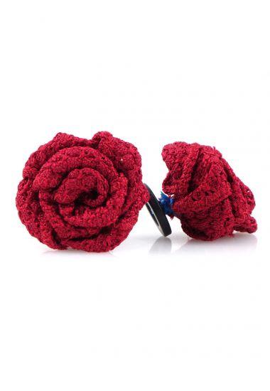 Button lapel flower RUBINO - Grenadine silk-Dark Red