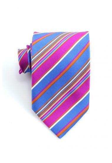 Cravatta 3 pieghe PARAMARIBO in seta panama _Blu Royal