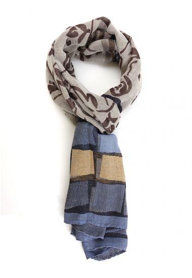 Modal/Cotton Scarf SABA - Sky Blue/Beige