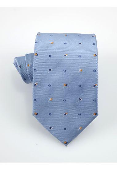 Cravatta 3 pieghe FLAG  in seta-Celeste