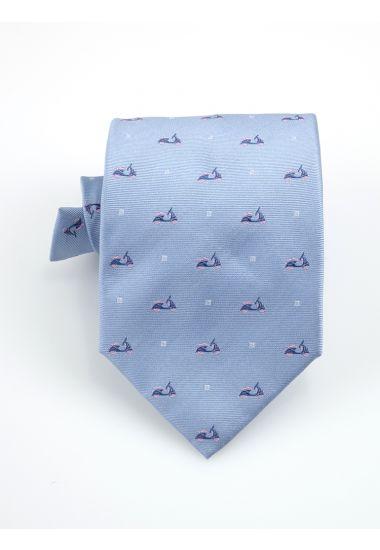 Cravatta 3 pieghe VESPA  in seta-Celeste