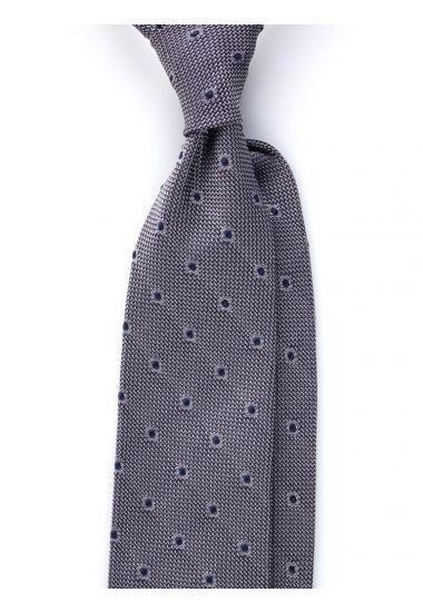 Cravatta 3 pieghe TIRELLA - Garza di seta -Grigio