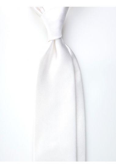 Cravatta 3 pieghe AMANTEA in seta raso - Bianco