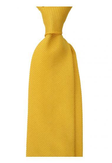 Cravatta 3 pieghe ONICE - Garza di seta -Giallo scuro con impuntura a mano
