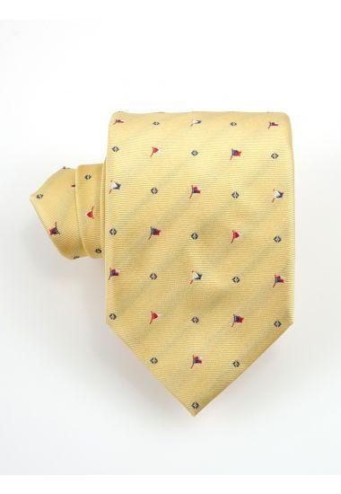 Cravatta 3 pieghe FLAG  in seta-Giallo