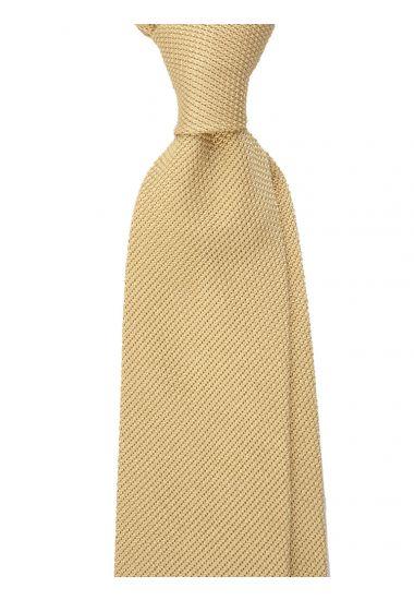 Cravatta 3 pieghe ONICE - Garza di seta -Giallo con impuntura a mano